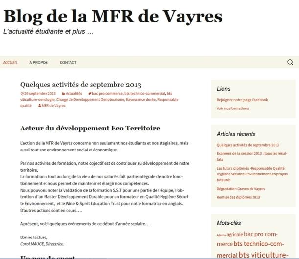 Blog de la MFR de Vayres
