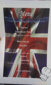 menu english day